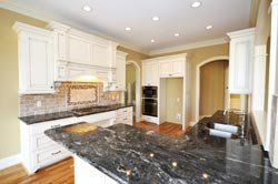 Black Granite kitchen white cabinets - Pleasantville Pleasantville