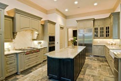 Granite kitchen green cabinets - Pleasantville Pleasantville