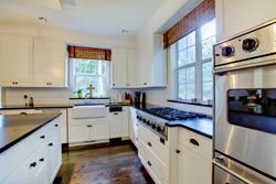 black granite white cabinets Granite kitchen - Pleasantville Pleasantville